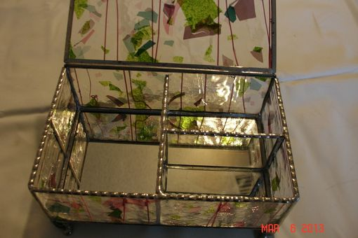 Custom Made Stained Glass Jewelry Box W/ Dividers In Pink, Green & Purple With Marbled Feet