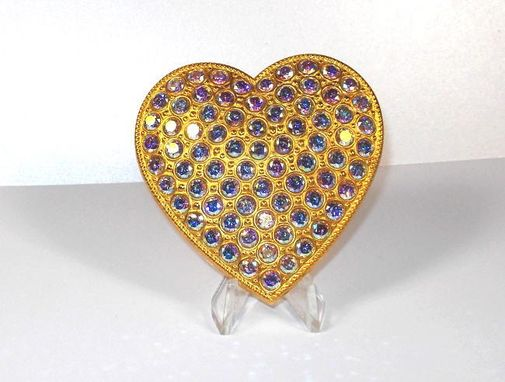 Custom Made Large Rainbow Cz Keepsake Heart - Super Bling Gift
