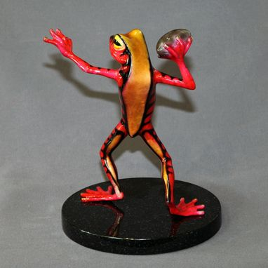 Custom Made Awesome Bronze Football Player Frog Figurine Statue Sculpture Art Limited Edition Signed Numbered