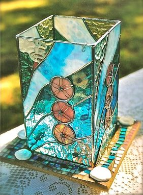 Custom Made Stained Glass Lantern With Art Glass Mosiac Base - Sand Dolloars On The Beach
