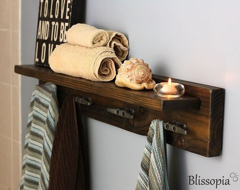 Custom Made Bath Shelf With Boat Cleat Towel Hooks