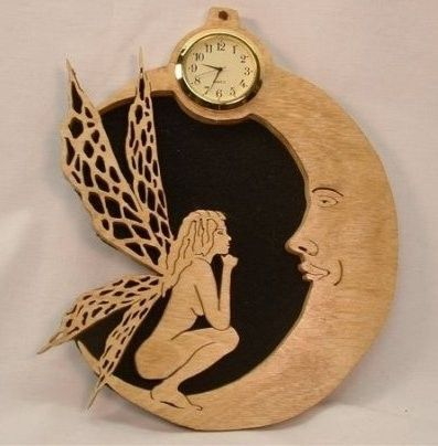 Hand Made Fairy And The Man In The Moon Wall Clock By