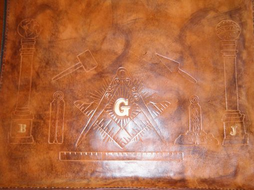 Custom Made Custom Leather Mason Apron Case In Weathered Color And Gold Leafing