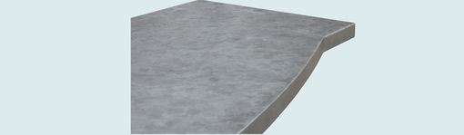 Custom Made Zinc Countertop With Curved Front & Pattern Patina