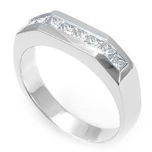 Custom Made Princess Cut Diamond Band In 14k White Gold, Wedding Band, Ladies Band