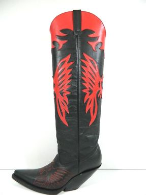 Custom Made Red Eagle Inlay With Gold Eye Stud Shaft And Stitched Eagle Vamps Men And Woman Sizes