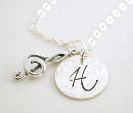 Custom Made Custom Initial Necklace With Music Charm - Musical - Treble Cleft Charm