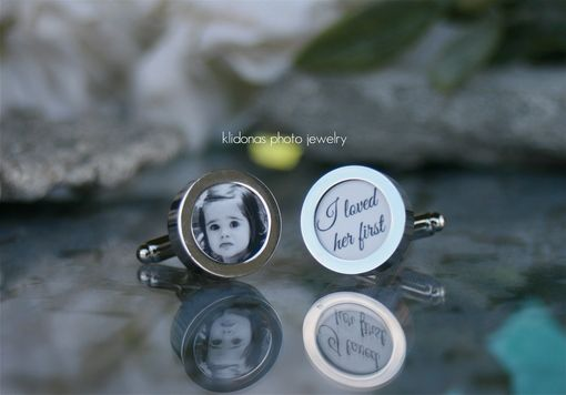 Custom Made Photo Cuff Links With Special Text For Father Of The Bride