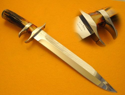 Custom Made Indian Amber Stag Sub-Hilt Knife