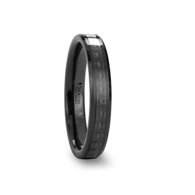 Custom Made Odessa Black Ceramic Ring With Black Carbon Fiber Inlay And Beveled Edges - 4mm & 6mm