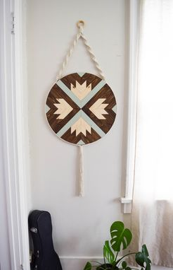 Custom Made Finch - Round Macrame Wood Wall Art Hanging