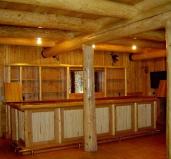 Handmade Knotty Alder Bar With Cherry Bar Top By