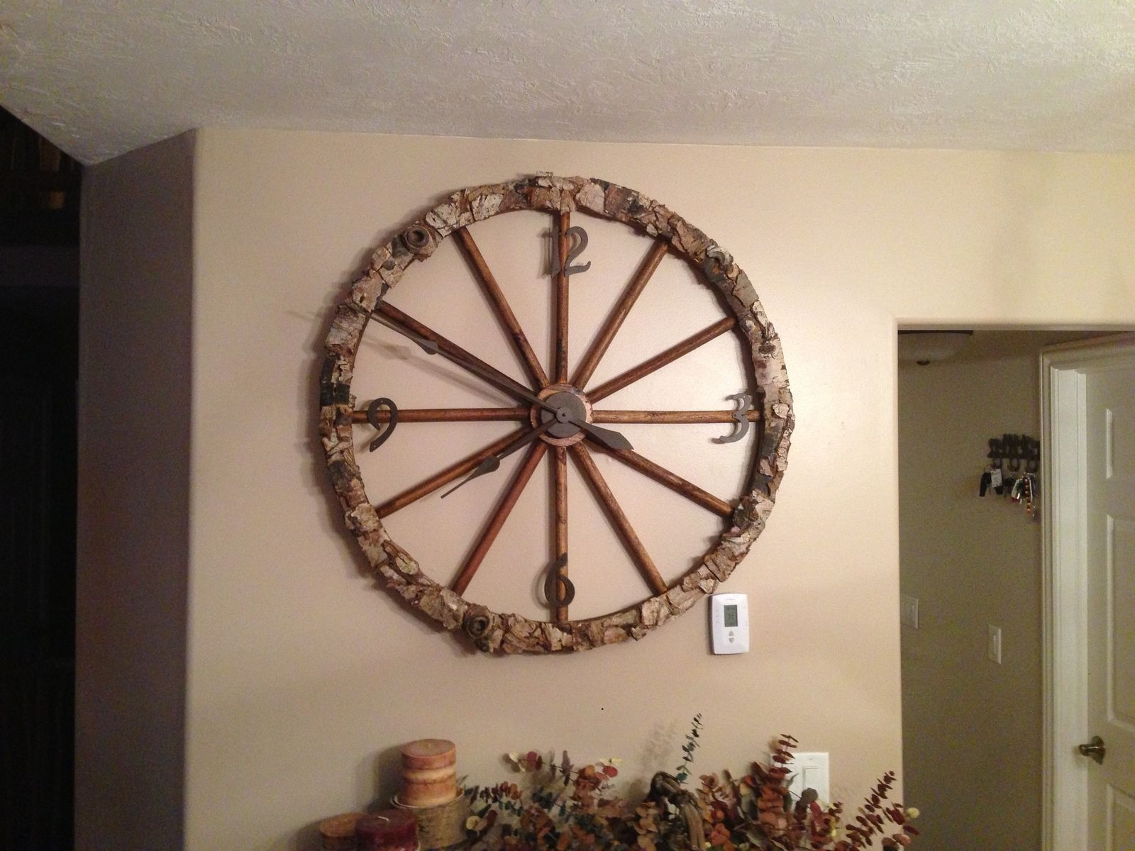Hand Made Wagon Wheel Clock By Twisted Tine Antler Design
