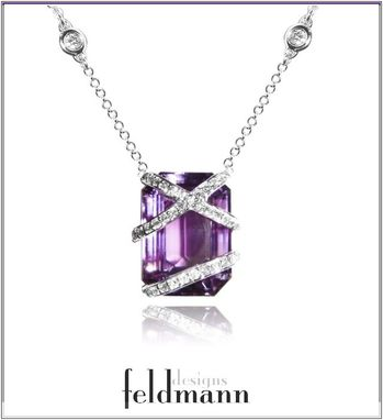 Custom Made Amethyst And Diamond Pendant With Diamond Station Necklace