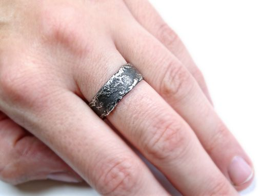 Custom Made Unique Silver Ring Molten Surface Cool Mens Band Wedding Engagement