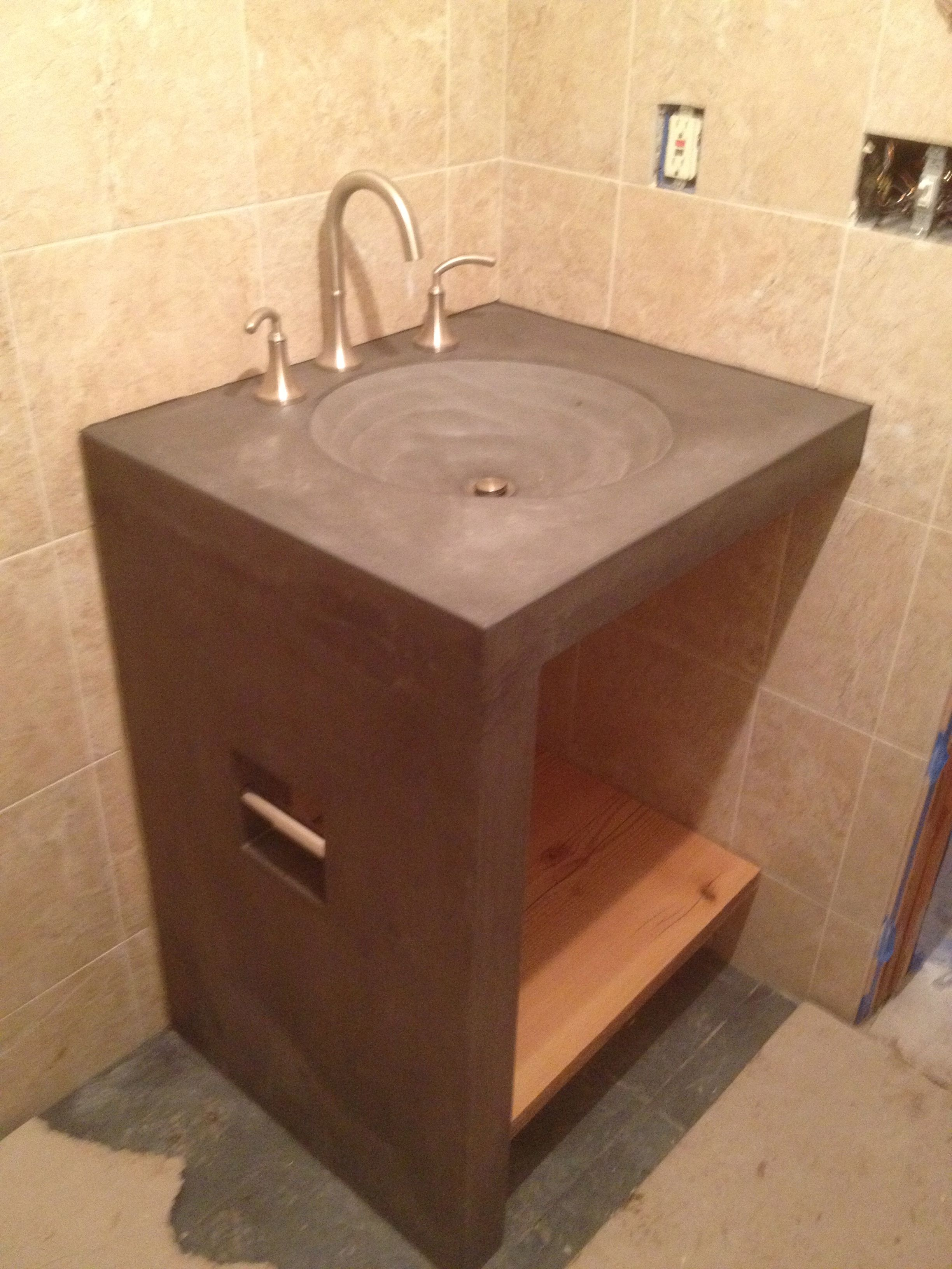 Buy a Custom Bathroom Sink/Base, Shower Bench With Rock And Concrete ...