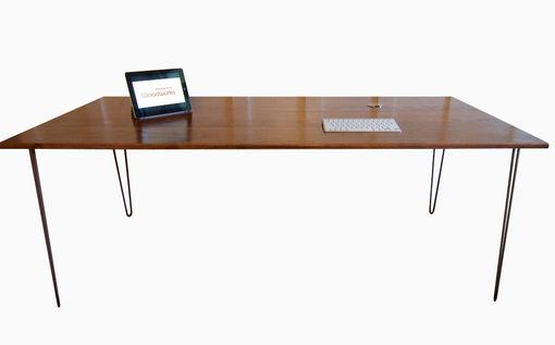 Custom Made Mid-Century Modern Desk With Stainless Steel Grommets