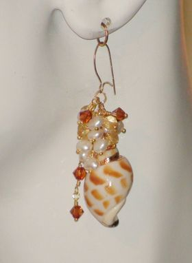 Custom Made Cream Shell, Pearl, And Swarovski Crystal Earrings With Gold Filled Earwires