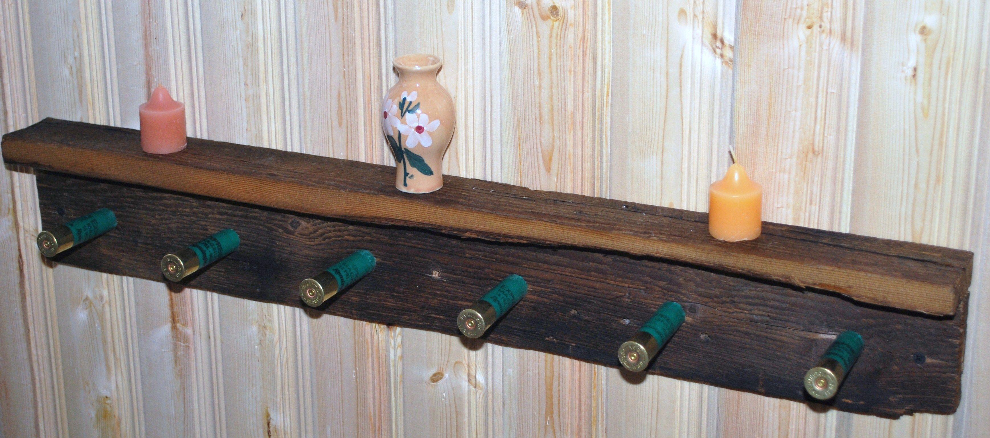 Buy Custom Rustic Barnwood Coat Hat Rack Shelf With Shotgun Shells
