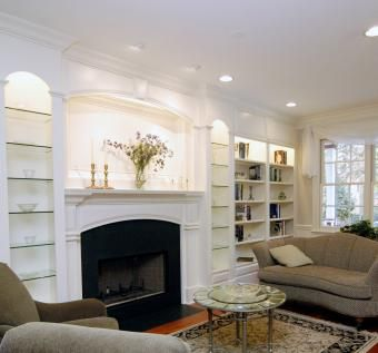 Custom Made Fireplace Mantle With Bookshelves