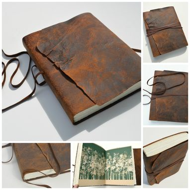 Custom Made Custom Order Pigskin Journal Notebook Lined Pages Large Handmade Travel Diary (475)