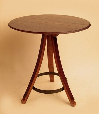Custom Made The Bistro Round Table Recycled Oak Wine Barrel, Staves And Head/Top, 3 Legs
