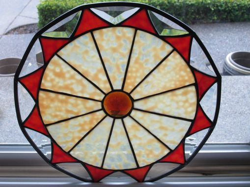 Custom Made Custom Round Stained Glass Panel-Bevels-Jewel