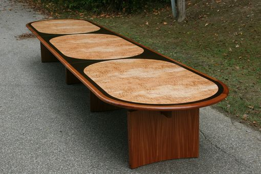 Custom Made Modern Inlaid Oval Conference Table (Three Worlds Table)