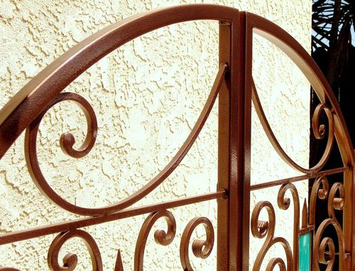 Custom Made Wrought Iron & Stained Glass Courtyard Gate By Rustic Furniture Hut