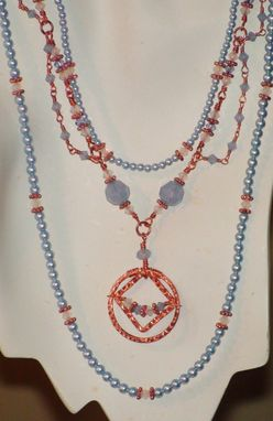 Custom Made Blue & White Wire-Wrapped Swarovski Crystals And Pearls Necklace In Copper - Blue Frost