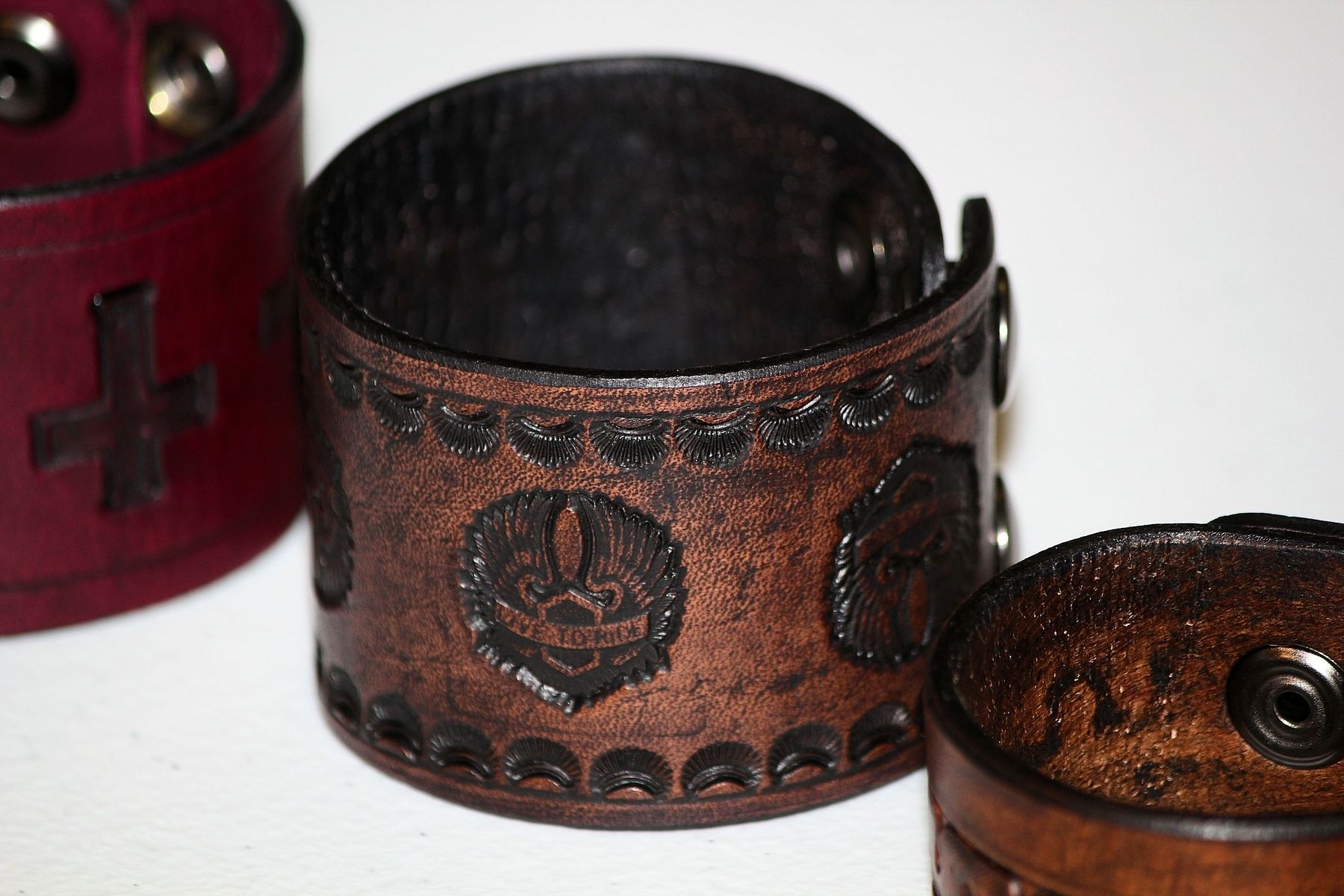 Custom Made Live To Ride Wings Leather Cuff Bracelets