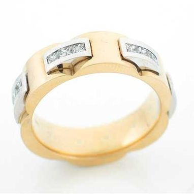 Custom Made 14kt Two Tone Gold And Diamond Wedding Band