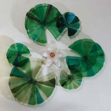 Custom Made Wall Lilies: Fused Glass Wall Sculpture