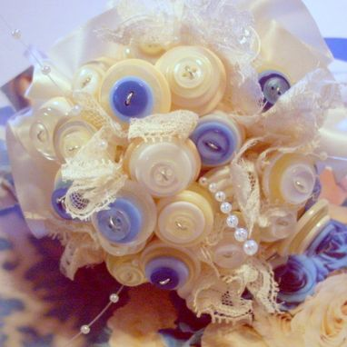 Custom Made Cream And Blue Buttons Bridal Bouquet