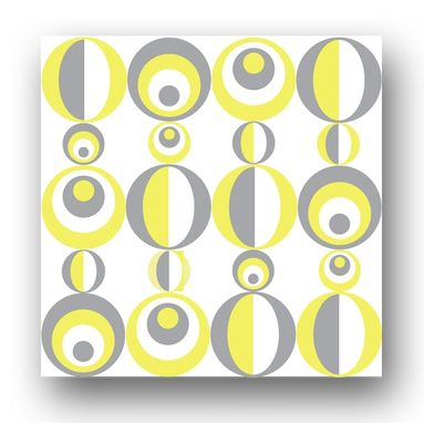 Custom Made Yellow And Gray Circles Mounted Prints (Set Of 9)