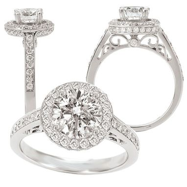 Custom Made 18k White Gold Diamond Engagement Ring Semi-Mount, Holds A 6.5mm Round Center