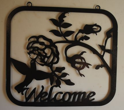 Custom Made Hummingbird & Rose Welcome Sign Metal Wall Art By Covington Iron Works