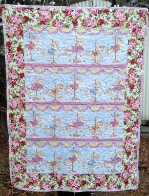 Custom Made Gorgeous Victorian Carousel Ponies & Cabbage Roses Baby / Girl Quilt