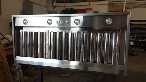 Custom Made #70 Black Hot Rolled Steel Range Hood With Custom Squares And Brushed Stainless Steel Straps