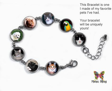 Custom Made Custom Photo Bracelet With 8 Photos - Glass And Stainless Steel