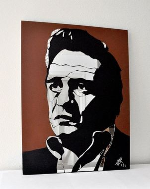 Custom Made Johnny Cash Mirror Art