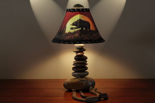 "Custom Made Stone Lamp With 12"" Hand-Painted Pig Skin Shade"