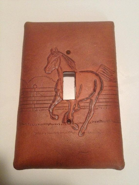Custom Handmade Leather Light Switch Cover Plate By