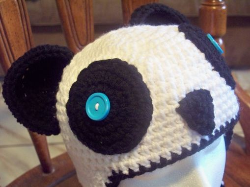 Custom Made Handmade Crochet Panda Hat, Beanie, Adult Size With Earflaps And Braids