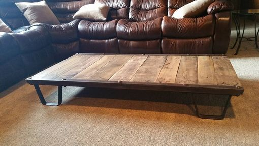 Custom Made Industrial Coffee Table From 1930s Iron And Oak Railroad Pallet 100% Original