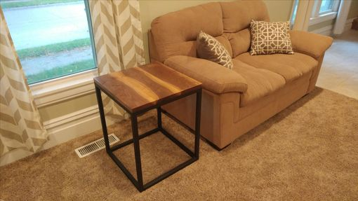 Custom Made Handcrafted Steel And Wood End Table