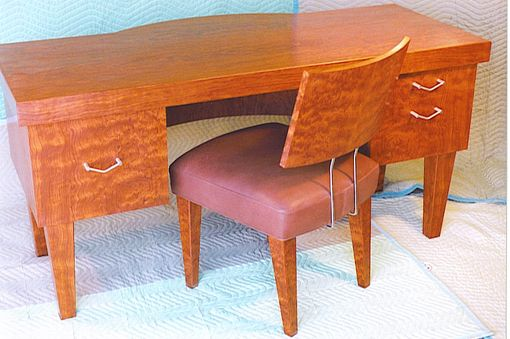 Custom Made Bubinga Desk And Chair