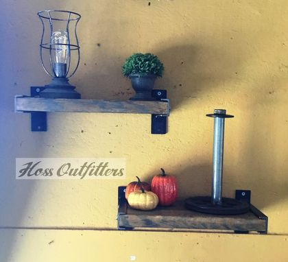 Custom Made Industrial Floating Shelf - Metal & Wood Wall Shelf- Heavy Duty Shelves
