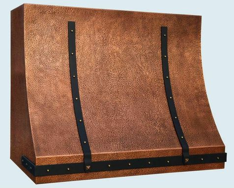 Custom Made Copper Range Hood With Black Steel Straps