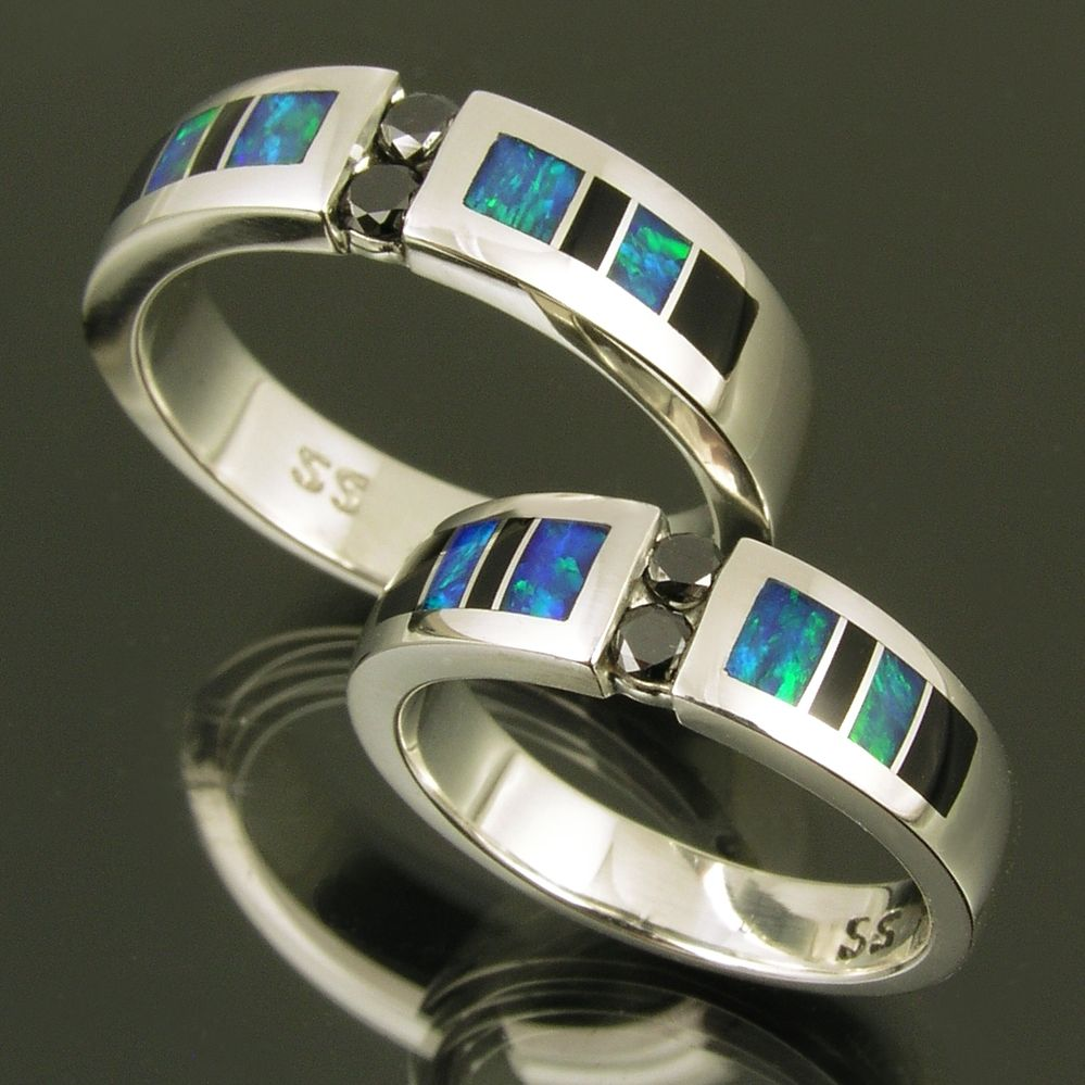 Custom Made Australian Opal Wedding Ring Set With Black Diamond